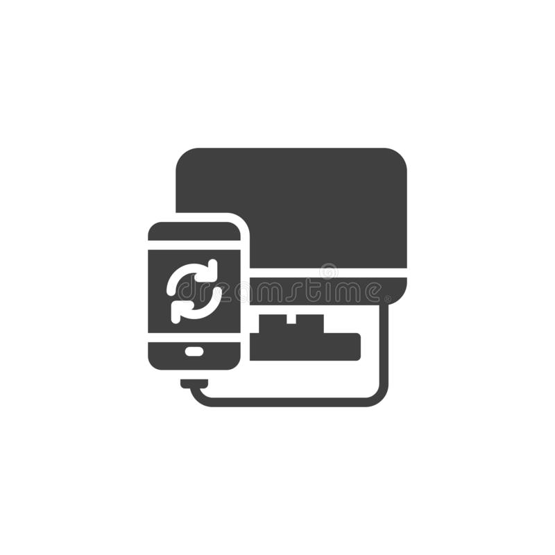 Mobile phone synchronize with computer vector icon. Filled flat sign for mobile concept and web design. Smartphone system update glyph icon. Symbol, logo royalty free illustration