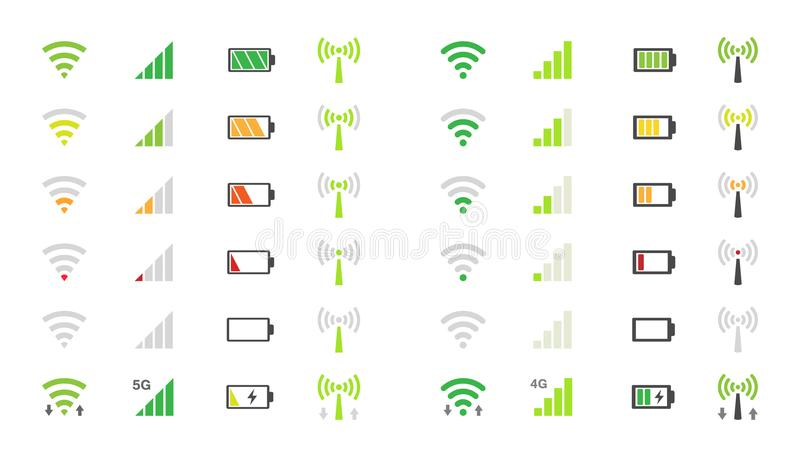 Mobile phone system icons, wifi signal strength, battery charge level. Wi-fi signal icons, battery energy charge, mobile signal level icon stock illustration