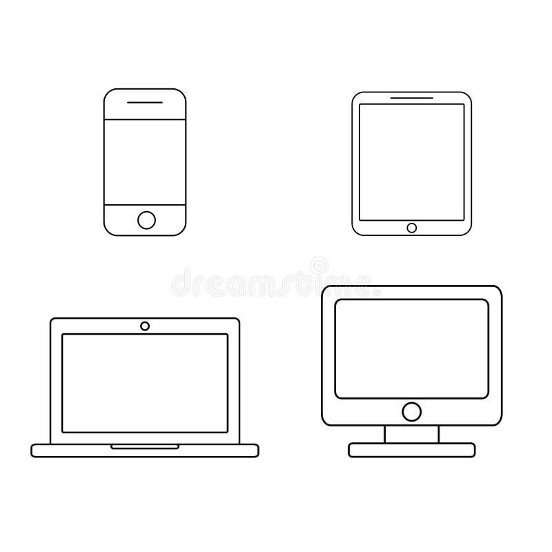 Mobile phone, tablet, laptop and desktop computer outline icons. Set. Line art design. Vector stock illustration