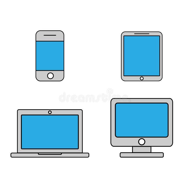 Mobile phone, tablet, laptop and desktop computer outline icons. Set. Line art design. Vector royalty free illustration