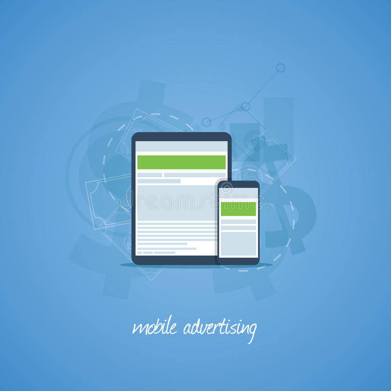 Mobile phone and tablet marketing and advertising royalty free illustration
