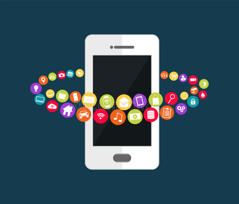 Mobile phone technology. Mobile applications abstract background. stock illustration