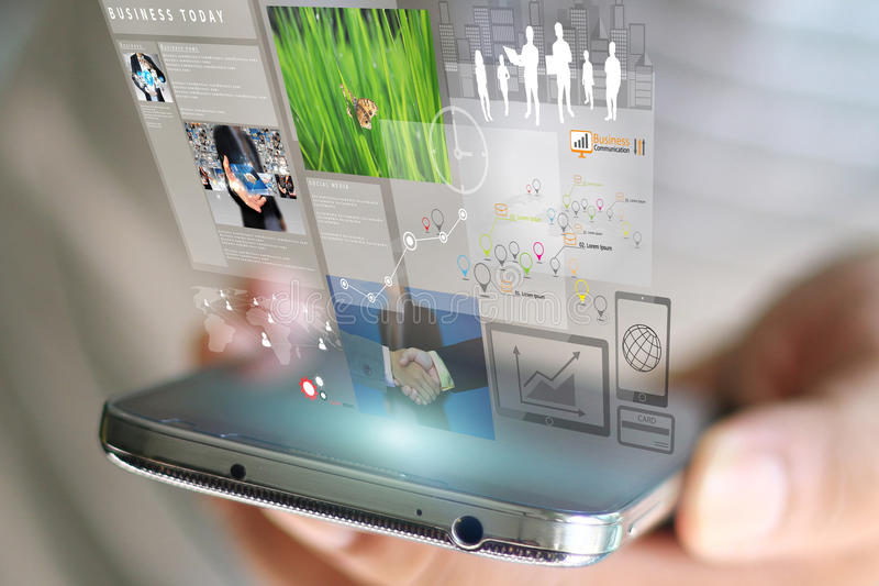 Mobile Phone Technology Virtual Screen stock photo