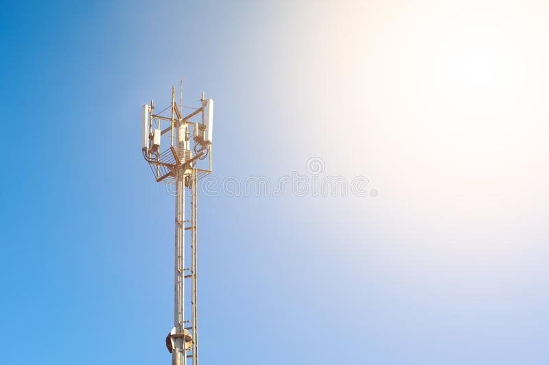 Tower. Mobile phone Telecommunication Radio antenna Tower. Cell phone tower. Copy space royalty free stock photography
