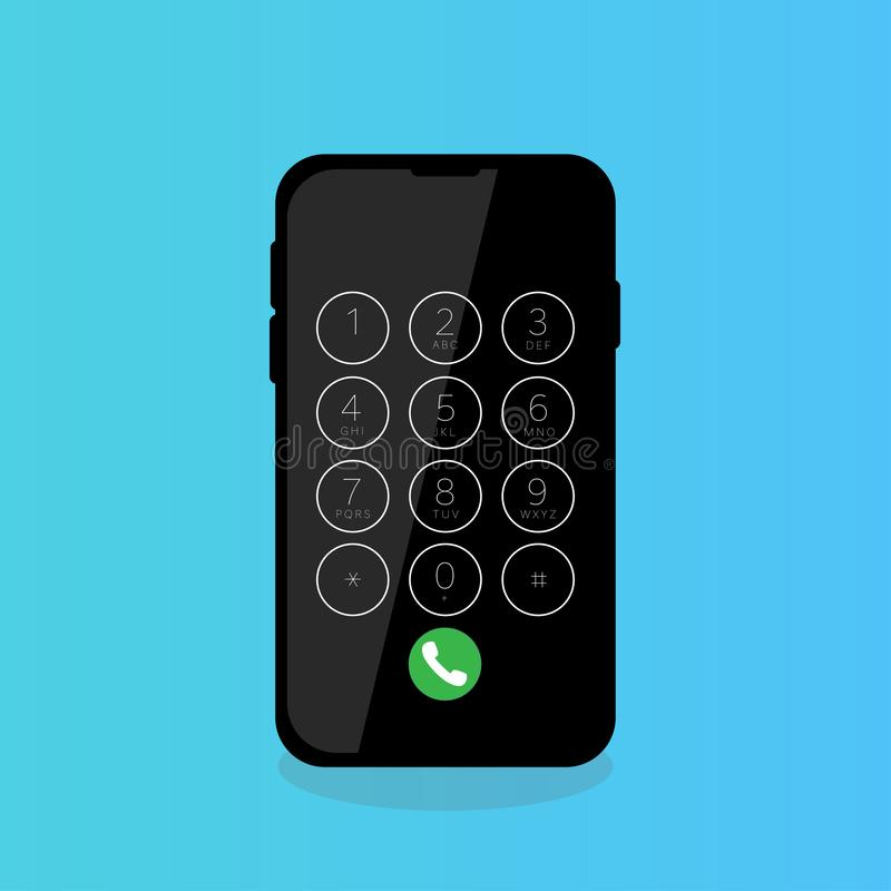 mobile phone touch screen dialing digits call stock illustration