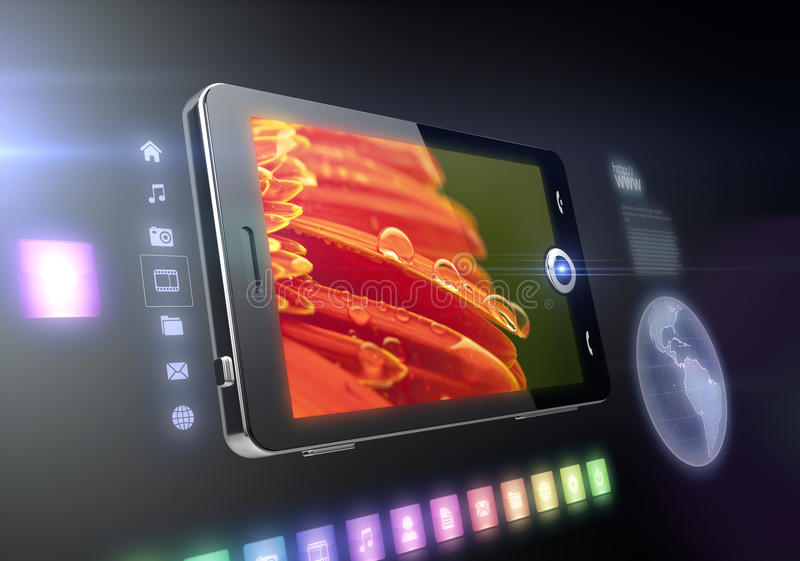 Mobile phone touch screen features. Multimedia features with internet connection stock images