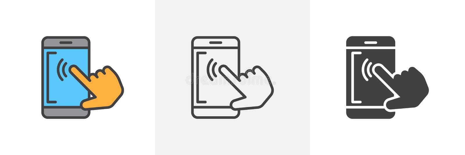 Mobile phone touch screen icon. Line, glyph and filled outline colorful version, Smartphone touchscreen tap outline and filled vector sign. Symbol, logo royalty free illustration