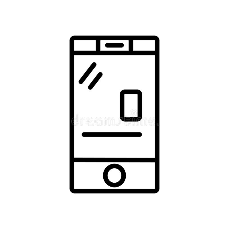 Mobile Phone with Touch Screen icon vector isolated on white background, Mobile Phone with Touch Screen sign , linear and stroke. Mobile Phone with Touch Screen royalty free illustration