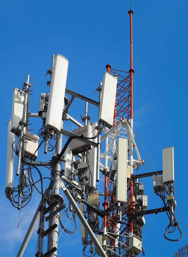 Mobile phone towers and 3G , 4G and 5G system. Mobile commutation system stock photo