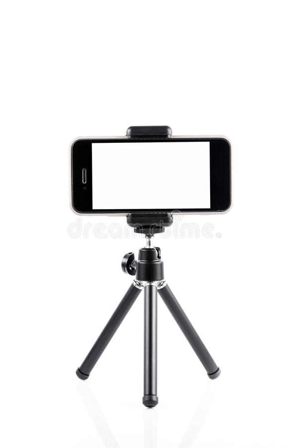 Mobile phone on a tripod royalty free stock image