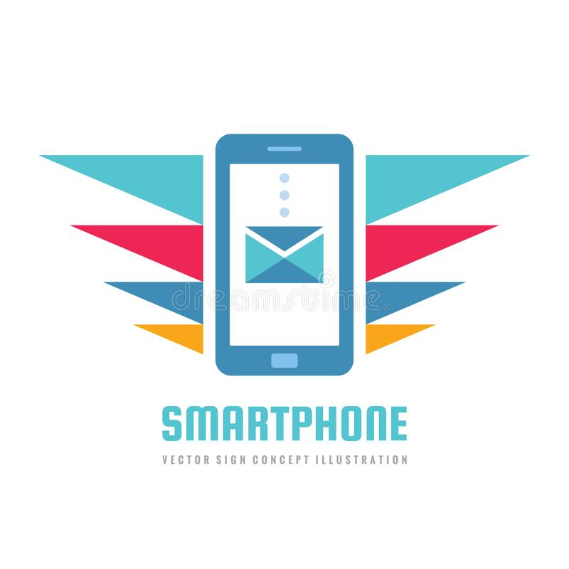 Mobile phone vector business logo concept illustration. Smartphone creative sign. Modern electronic technology. Cellphone symbol. royalty free illustration