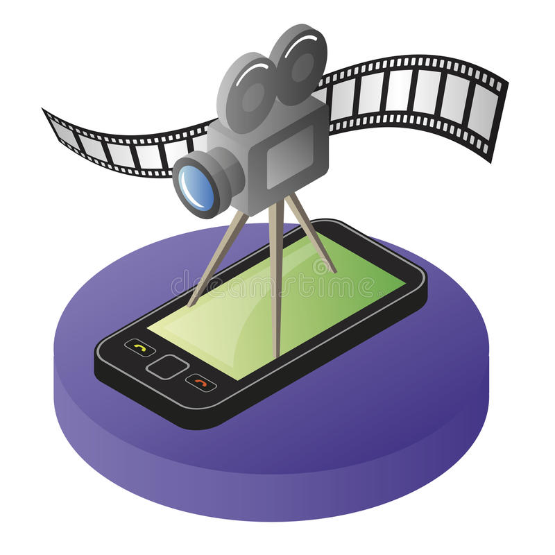 Mobile phone video. Illustration of mobile smart phone with video camera and film strip royalty free illustration