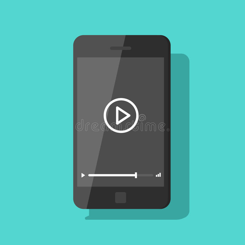 Mobile phone video player vector, smartphone streaming online film concept. Mobile phone video player vector illustration, flat smartphone streaming online video royalty free illustration