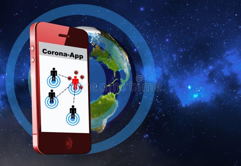 Corona App. Mobile phone virus detection app, Corona App stock illustration