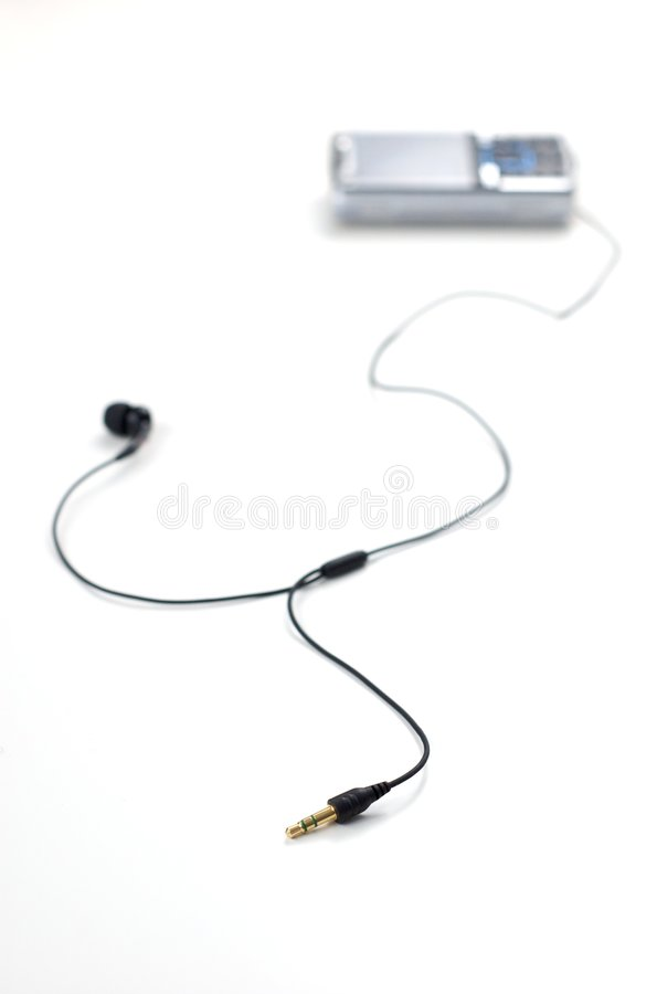 Free Mobile Phone With Earphones Royalty Free Stock Image - 6699156