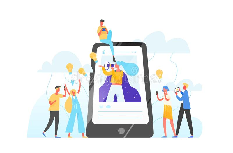Mobile phone, woman with megaphone on screen and young people surrounding her. Influencer marketing, social media or stock illustration