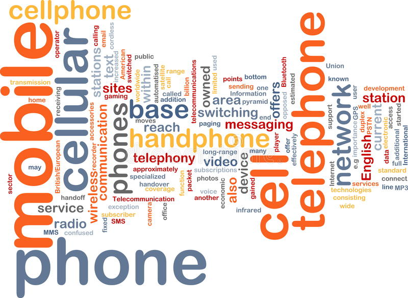Mobile phone word cloud royalty free illustration