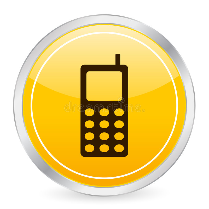 Download Mobile Phone Yellow Circle Ico Stock Vector - Illustration: 5320252