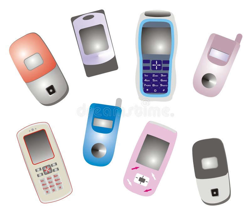 Mobile phones. Illustration of several styles of mobile phones vector illustration