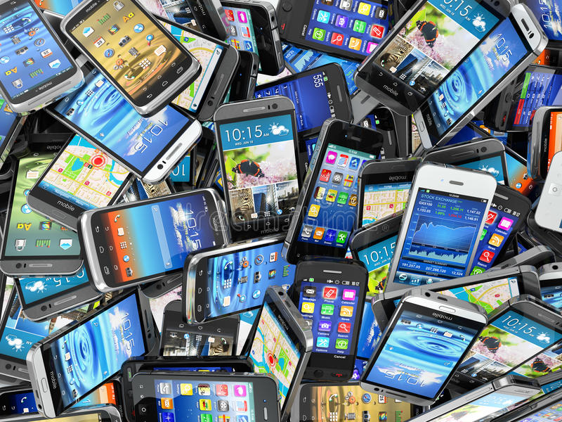Mobile phones background. Pile of different modern smartphones. 3d vector illustration