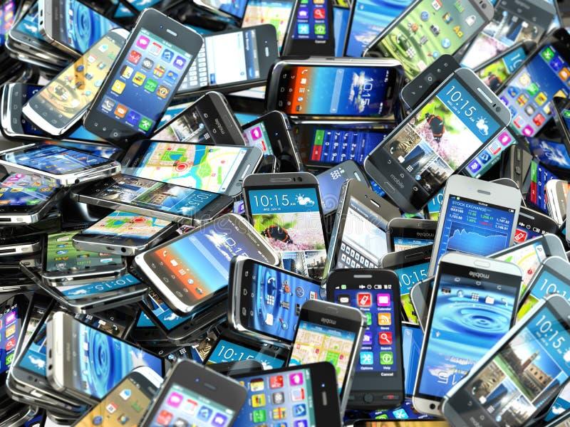 Mobile phones background. Pile of different modern smartphones. 3d stock illustration