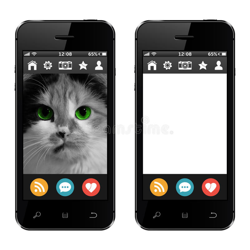 Mobile phones with cat photo and blank empty white screen royalty free illustration