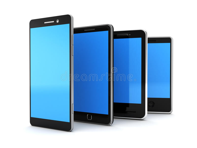 Mobile phones. 3d illustration of different mobile phones row, over white background royalty free illustration