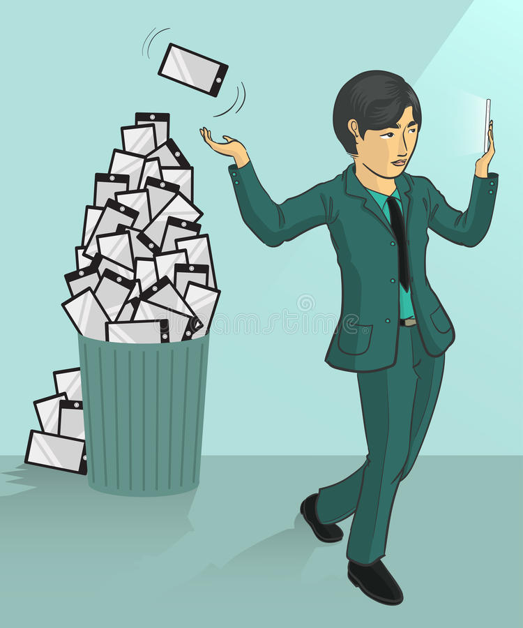 Mobile phones dump. A businessman tossing his old smartphone to trash can stock illustration