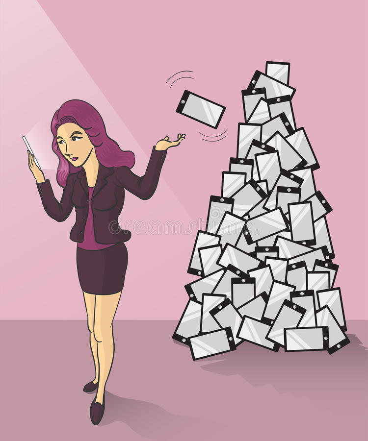 Mobile phones dump. A businesswoman tossing her old smartphone to trash can royalty free illustration