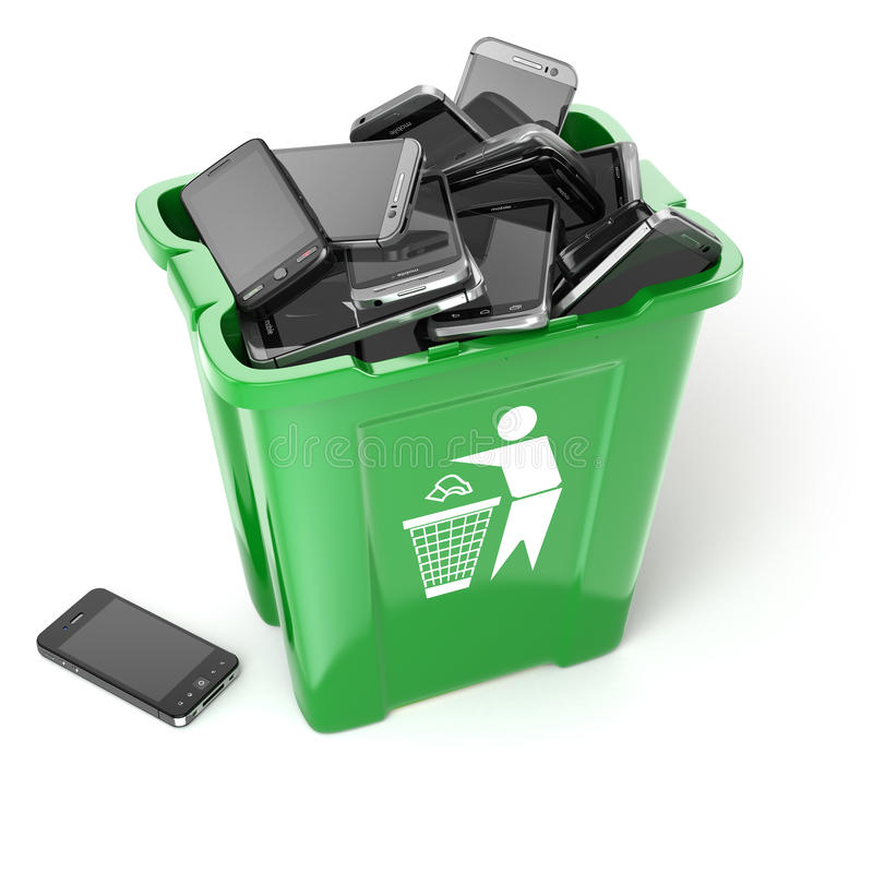 Mobile phones in garbage can on white background. Utili. Zation cellphones concept. 3d royalty free illustration