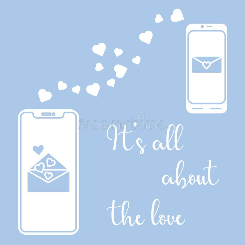 Mobile phones, heart, love correspondence, message. Vector illustration with two mobile phones, hearts and love correspondence. Love message. Happy Valentine's stock illustration