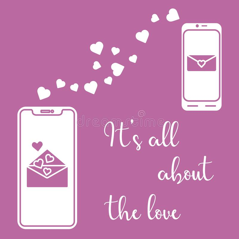 Mobile phones, heart, love correspondence, message. Vector illustration with two mobile phones, hearts and love correspondence. Love message. Happy Valentine's royalty free illustration
