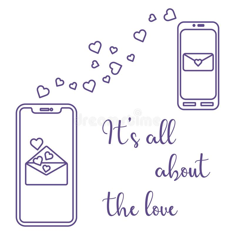 Mobile phones, heart, love correspondence, message. Vector illustration with two mobile phones, hearts and love correspondence. Love message. Happy Valentine's vector illustration