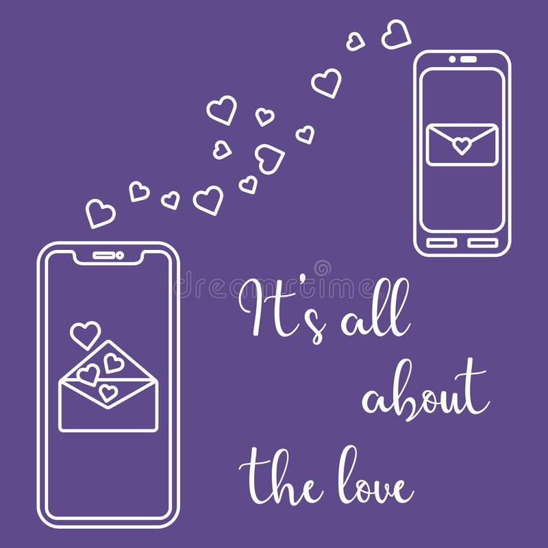 Mobile phones, heart, love correspondence, message. Vector illustration with two mobile phones, hearts and love correspondence. Love message. Happy Valentine\'s stock illustration