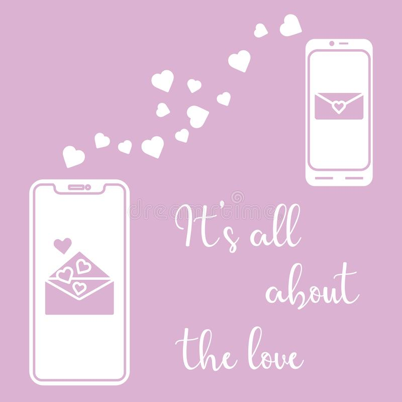 Mobile Phones, Heart, Love Correspondence, Message Stock