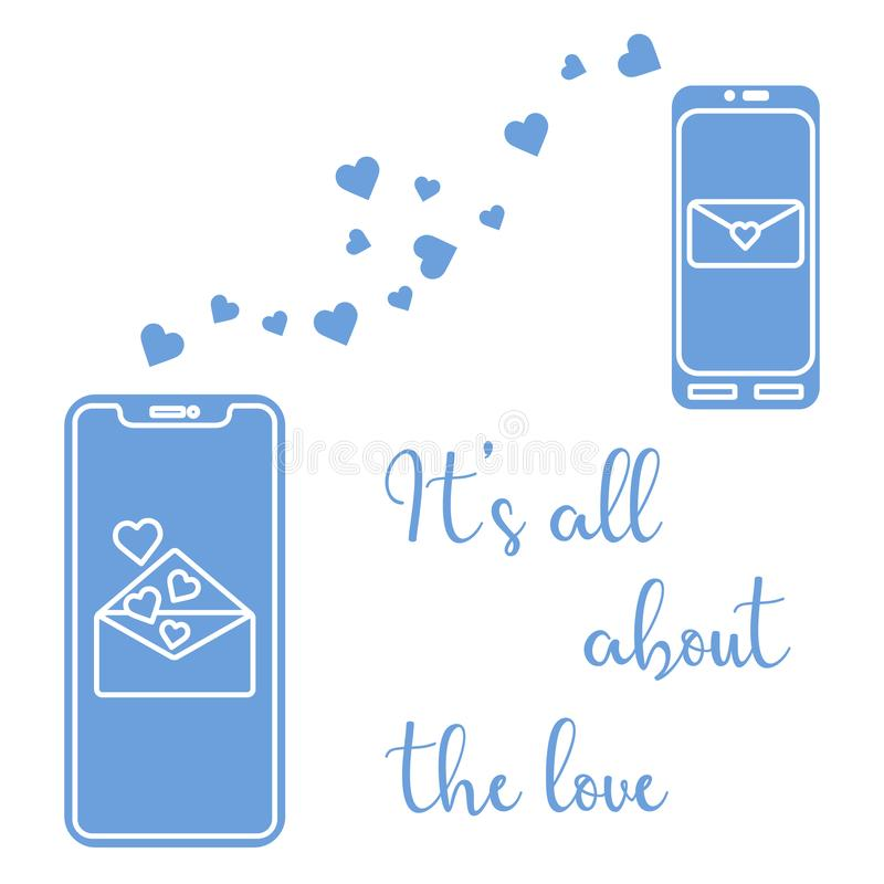 Mobile phones, heart, love correspondence, message. Vector illustration with two mobile phones, hearts and love correspondence. Love message. Happy Valentine\'s vector illustration
