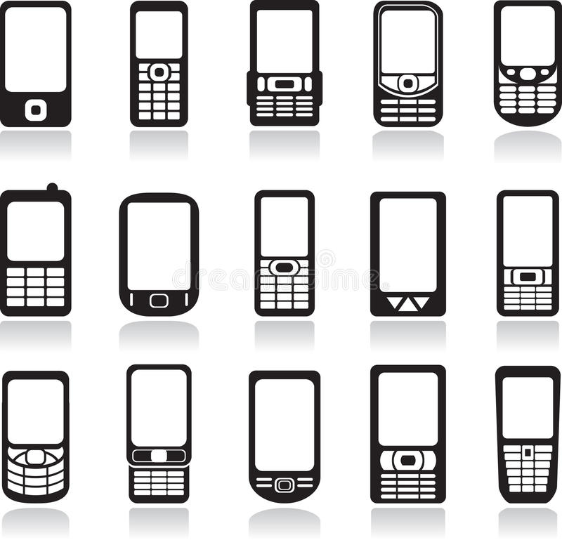 Download Mobile phones icons set stock vector. Image of phone - 13260847