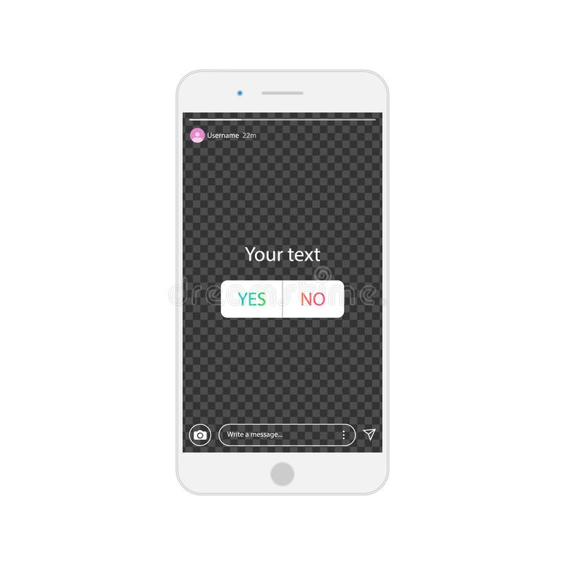 Mobile phones with poll in social media. Interface a poll. Template a poll in popular social media. vector illustration