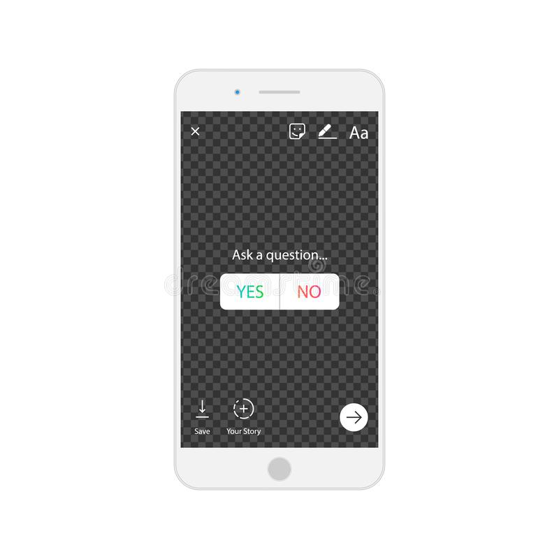 Mobile phones with poll in social media. Interface a poll. Template a poll in popular social media. Vector stock illustration