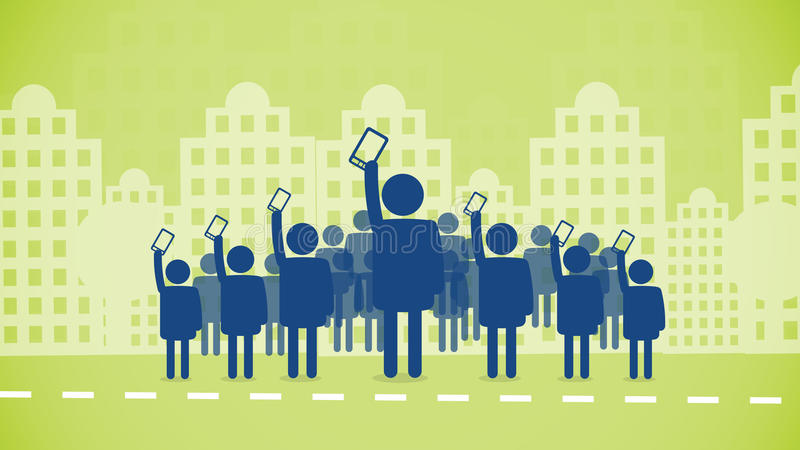 Mobile phones revolution. Vector illustration in of a crowd revolution in the street of the city holding up in the air smartphones and mobile phones