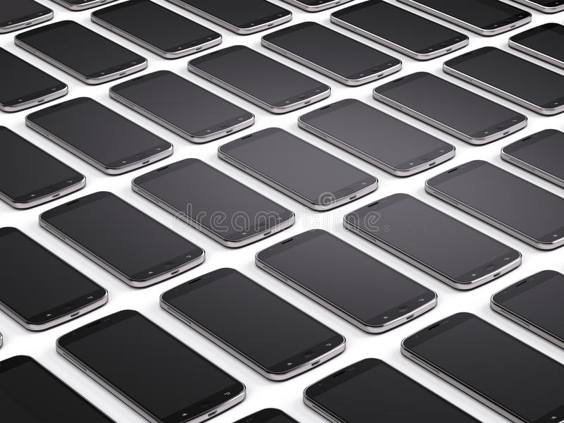 Mobile phones, smartphones. Background - 3d render royalty free illustration
