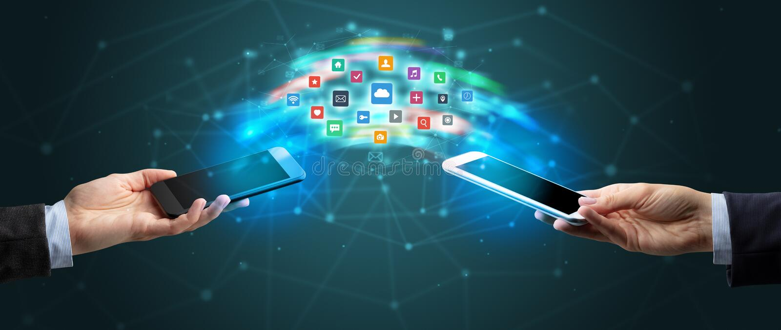 Mobile phones syncing application vector illustration