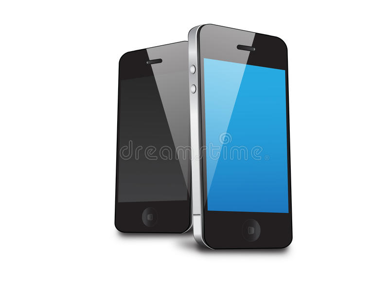 2 mobile phones vector illustration. This image is a vector illustration mobiles and can be scaled to any size without loss of resolution. This image will royalty free illustration