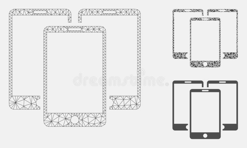 Mobile Phones Vector Mesh 2D Model and Triangle Mosaic Icon. Mesh mobile phones model with triangle mosaic icon. Wire frame triangular mesh of mobile phones vector illustration
