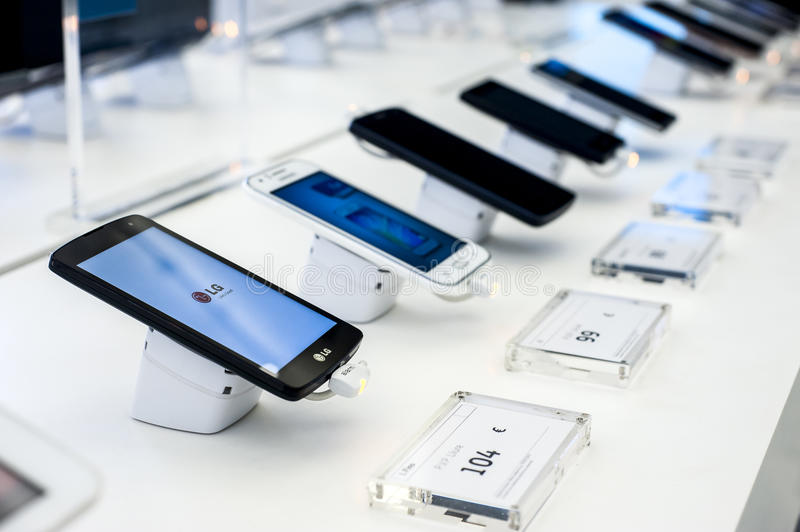 MOBILE PHONES. During Mobile World Congress 2016 that celebrates in Barcelona, Spain on days 22-25 February 2016 royalty free stock image