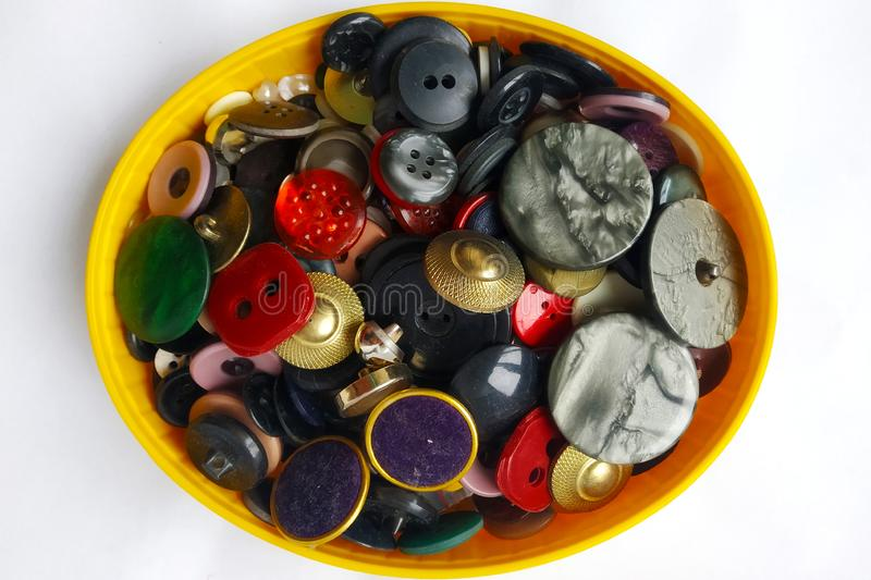Mobile photo of sewing buttons stock photography