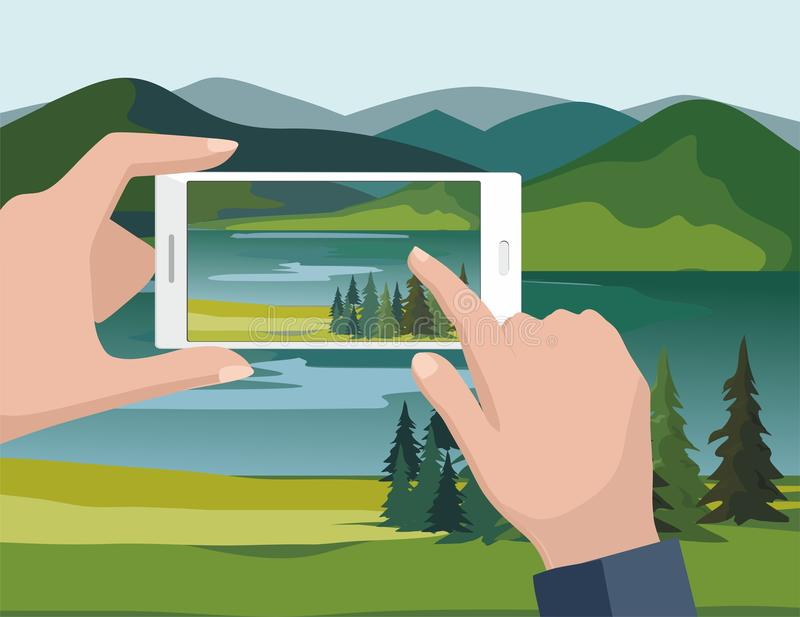 Mobile photography concept. Man taking photos of nature landscape with fir trees and river to phone. vector illustration