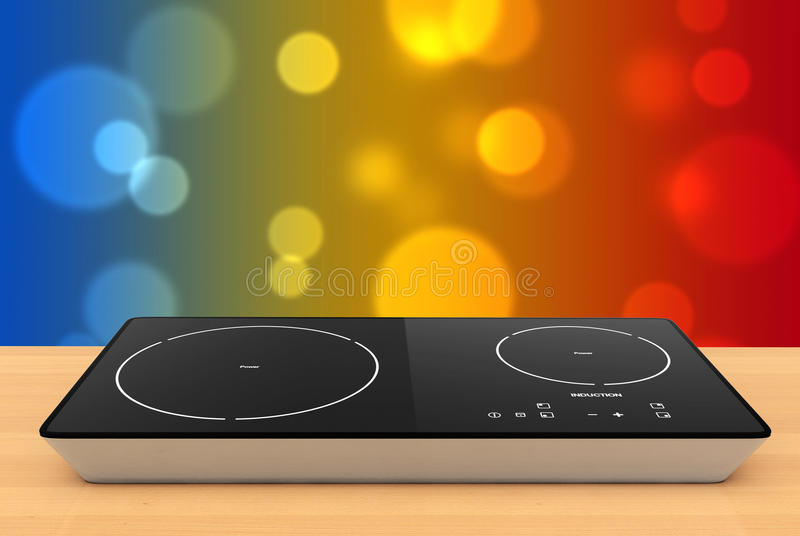 Mobile Portable Induction Cooktop Stove. 3d Rendering royalty free illustration