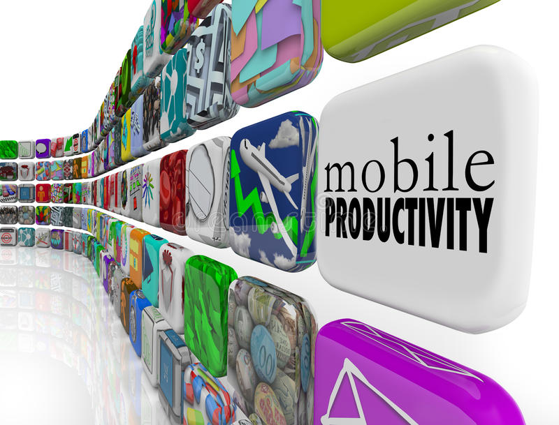 Mobile Productivity Apps Software Working Remotely on the Go. The words Mobile Productivity on an app tile surrounded by programs, software and apps designed to vector illustration