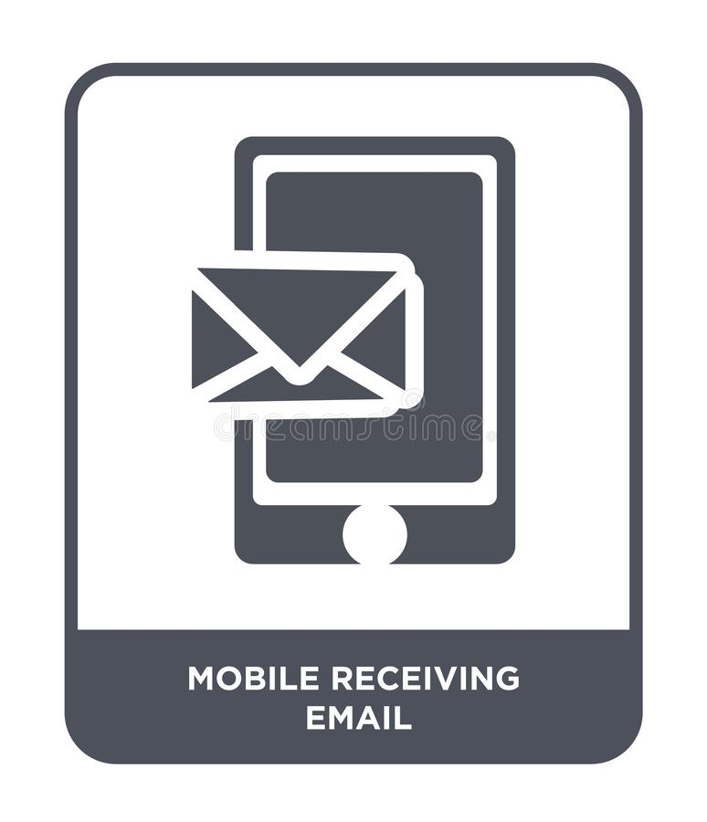 Mobile receiving email icon in trendy design style. mobile receiving email icon isolated on white background. mobile receiving. Email vector icon simple and stock illustration